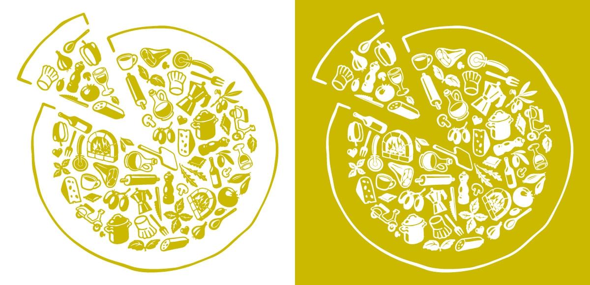 Het belangrijkste stijlelement uit de nieuwe huisstijl: de pizza van iconen