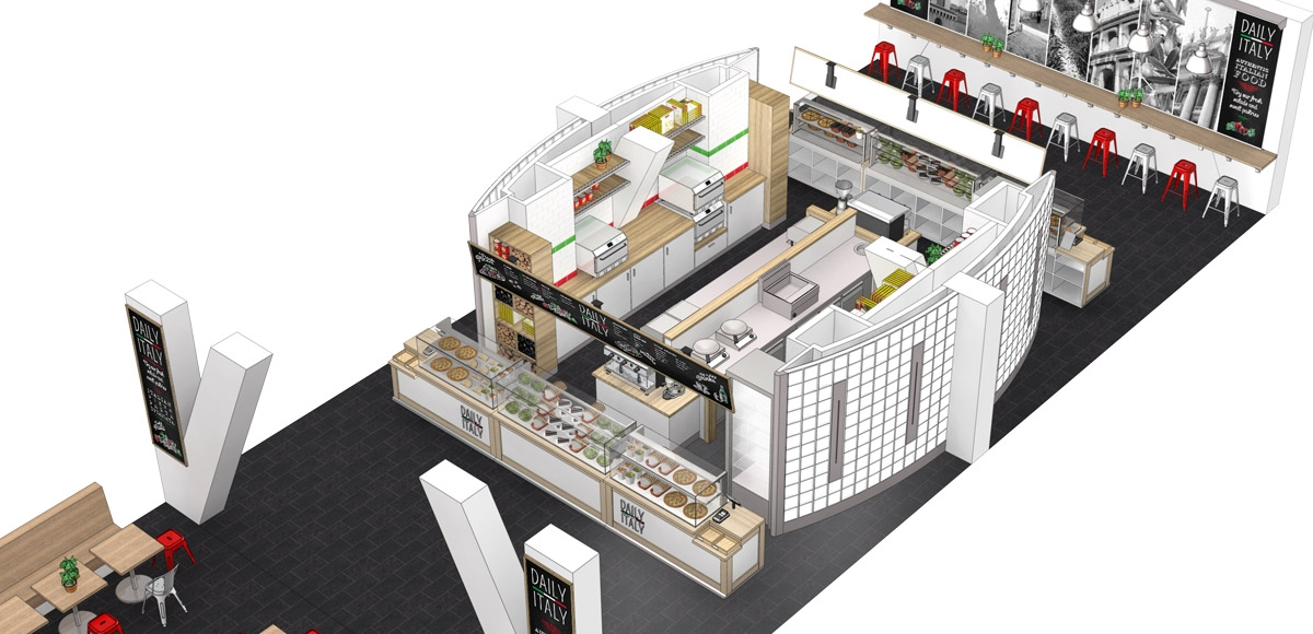 Opengewerkt aanzicht van de keuken en de zitgedeelten aan weerszijden