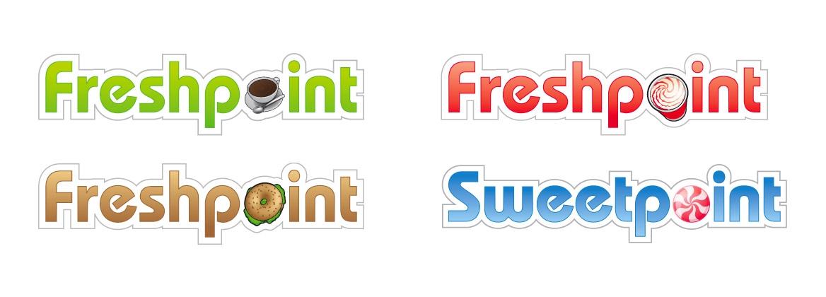 Voorstel voor varianten op het Frehspoint logo voor de diverse horecaformules