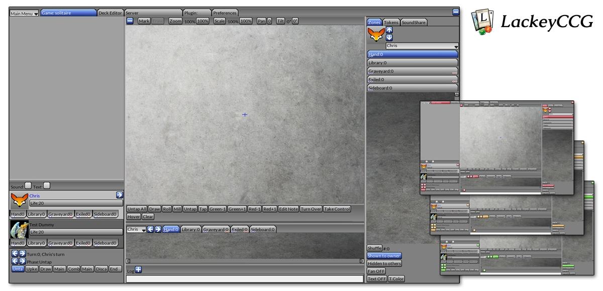 De standaard skin voor de LackeyCCG interface + een aantal kleurvarianten