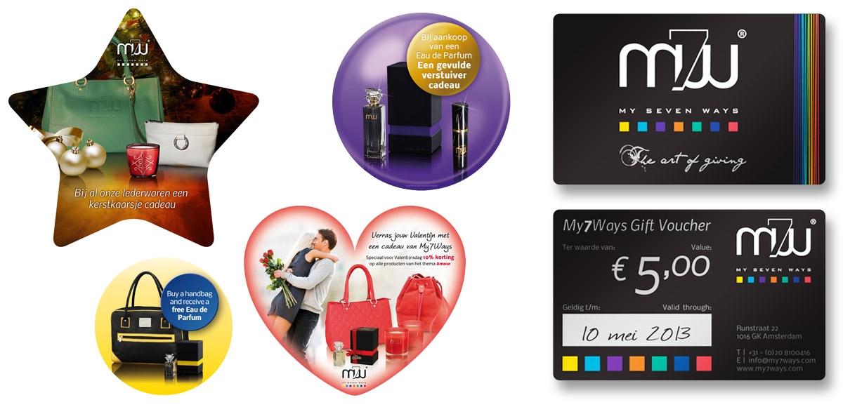 Diverse raamstickers voor de My7Ways winkel in Amsterdam